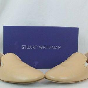 $398 Stuart Weitzman Myguy Leather Loafers Blush